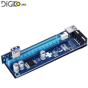 تبدیل PCIE 1X به PCIE 16X با رابط کابل USB3.0 با برق 4 پین