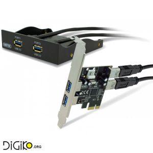 کارت USB3.0 PCIE-EXPRESS چهار پورت به همراه پنل USB3.0 دو پورت پشت کیس