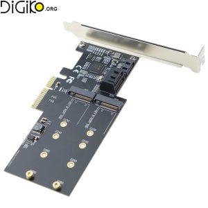 کارت تبدیل PCI-E 4X به SATA3.0 و M2 B-KEY